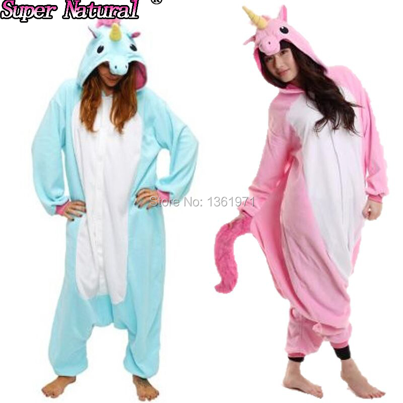 HKSNG Dropshipping Winter Flannel Unicorn Pajamas Adult Couples Cartoon Animal Blue Purple Kigurumi Onesies Cosplay Costumes(China (Mainland))