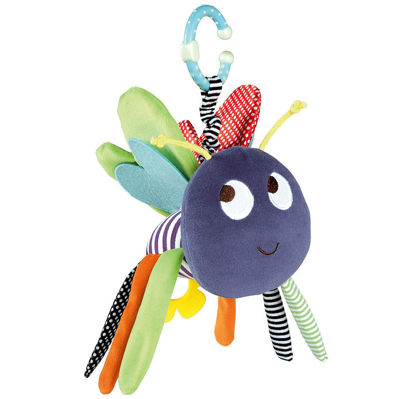 0+ New Baby Plush Toy Colorful Bee Crib Bed Hanging Ring Bell Toy Soft Baby Rattle Early Educational Doll(China (Mainland))