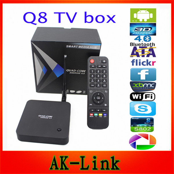 Original Q8 RK3288 Cortex-A17 2.4G+5G Dual Band wifi Quad Core android 4.4  2G/8G Android TV BOX HDMI Media Player with Antenna