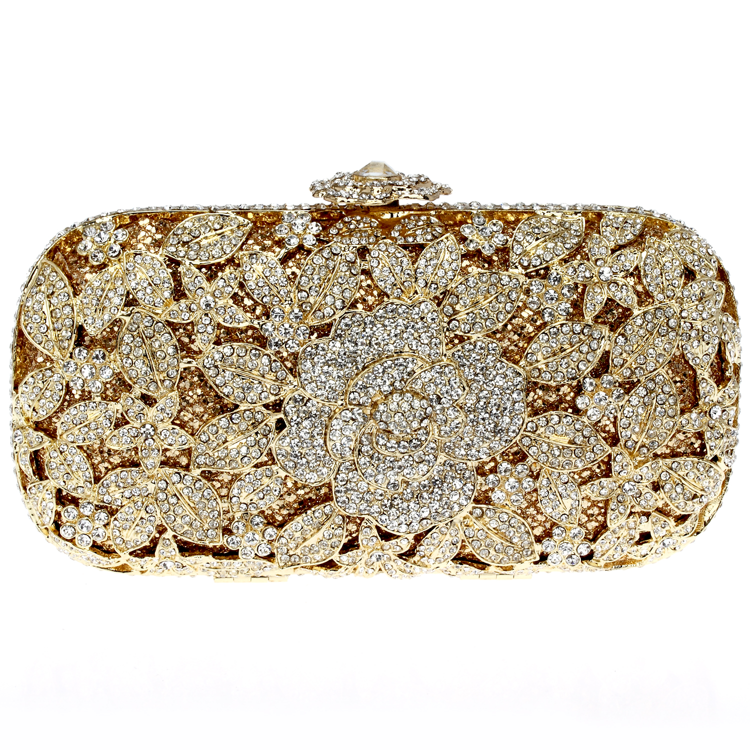 2015 new arrival brand new gold banquet bag fashion full mounting rhinestone top quality night clutch()