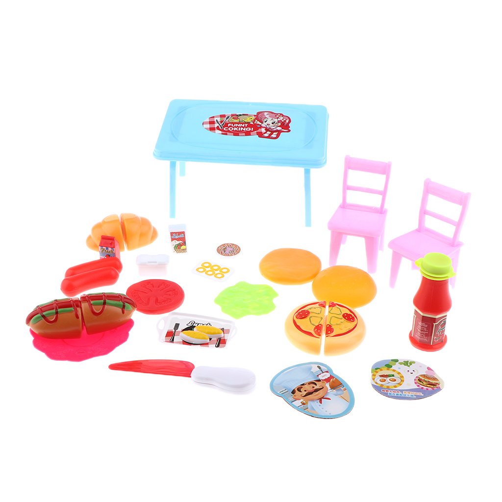 Dolls Kitchen Food Set Mini Simulation Table Chair For Dollhouse Accessories