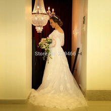 Real White Ball Gown O-neck Tulle and Lace Applique 3/ 4 Sleeve Elegant Plus Size Wedding Dress Gowns Vestido De Casamento 2014(China (Mainland))