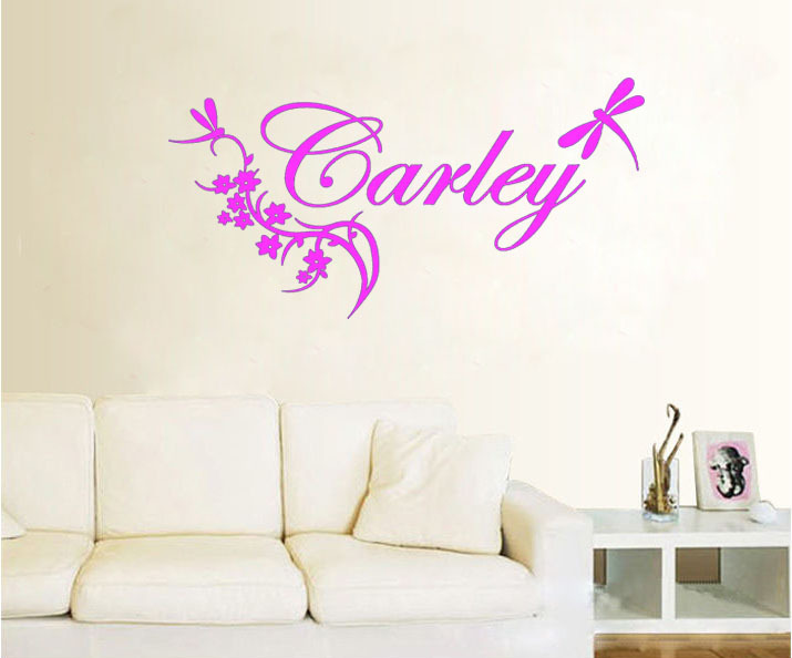 Word Wall Art Vinyl Lettering Home Decor ~ Personalized name and dragonfly say quote word lettering