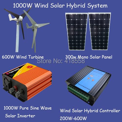 1000w wind power generator/600w wind turbine/ solar panel 200w/1000w pure sine wave inverter/600w wind solar hybrid controller(China (Mainland))