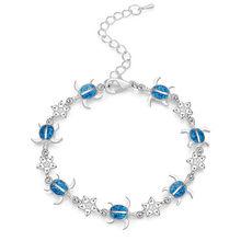 Шарм Летний Дельфин браслет с черепахами синий опал серебряный цвет ручной цепи пляж женский ювелирный браслет Bijoux(China)