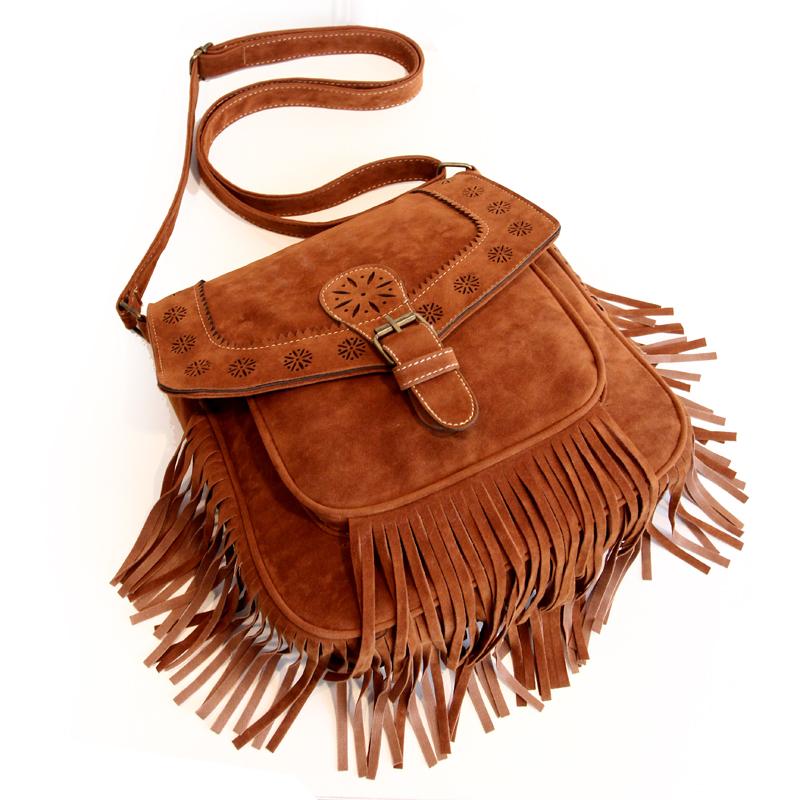 2016 fashion women shoulder bag vintage tassel crossbody bag bohemia cutout women's message tote handbag(China (Mainland))
