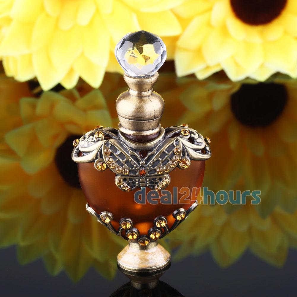 NEW 5ml Vintage Heart Shape Empty Refillable Metal Glass Perfume Bottle Stopper Gift<br><br>Aliexpress
