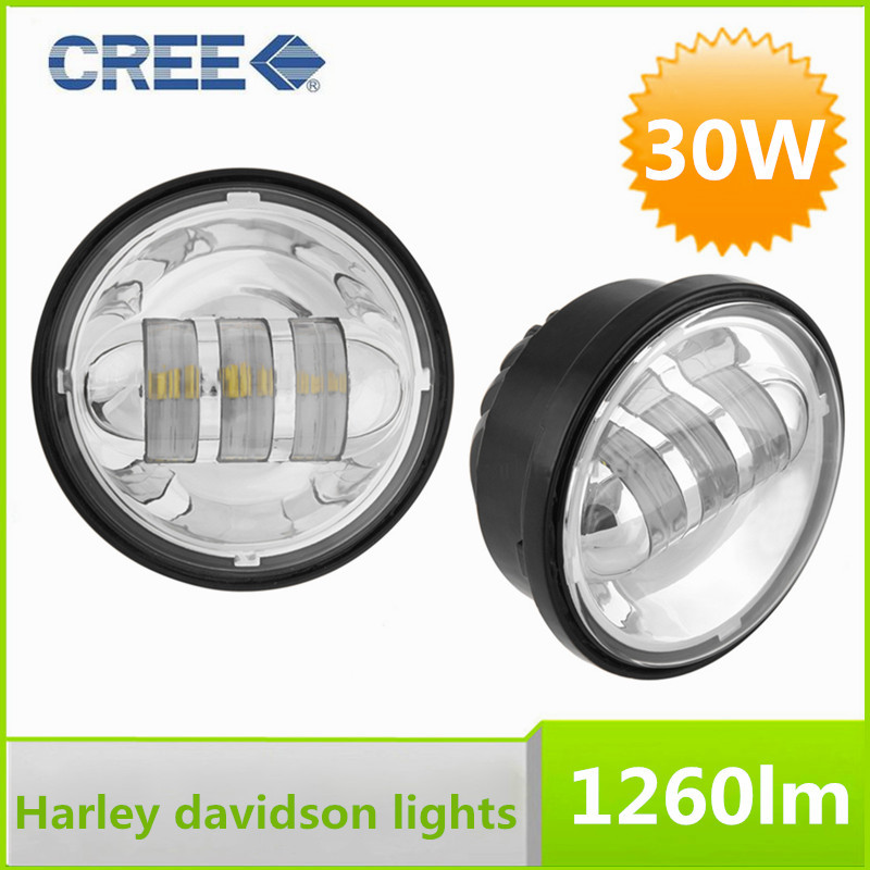 2015 New Pair LED Fog Lights Cree 30W 4.5 Inch Round Headlight for Harley Davidson Motorcycles<br><br>Aliexpress