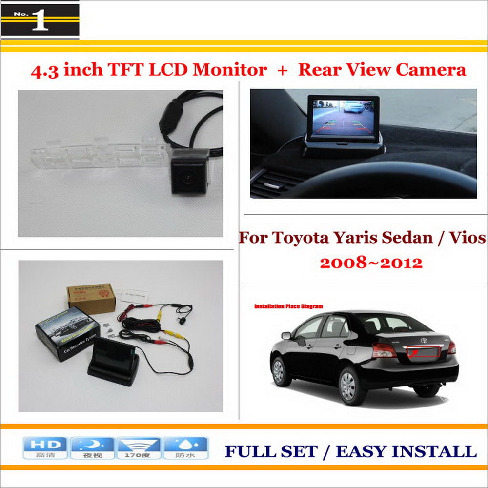 "4.3"" LCD Monitor + Car Rearview BackUp Camera = 2 in 1 Car Parking System For Toyota Yaris Sedan / Vios 2008 2009 2010 2011 2012(China (Mainland))"