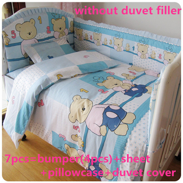 Promotion! 6/7PCS Baby Bedding Set 100% Cotton Comfortable Feeling Baby Bed Sets,120*60/120*70cm<br><br>Aliexpress