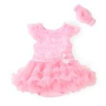 Princess Newborn Baby Girl Clothes Dress Lace Infant Girls' Tutu Wedding Dresses Summer Romper & Headband Jumpsuit Clothing Set(China (Mainland))