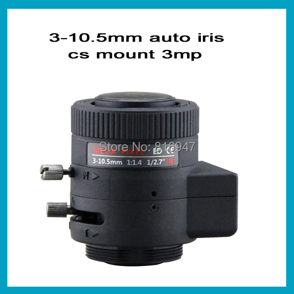 "3-10.5mm 1/2.7"" F1.4 auto iris cctv ir lens, cs mount 3 megapixel security camera lens ,(China (Mainland))"