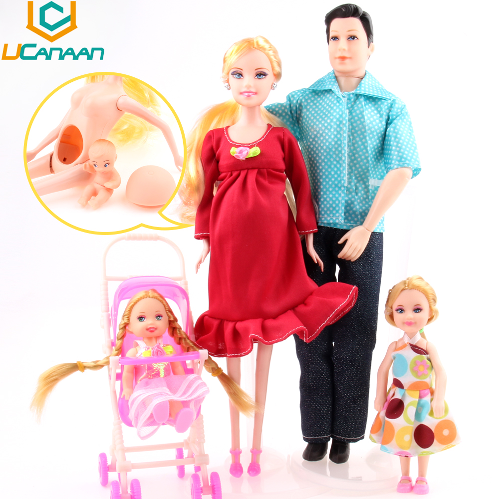 UCanaan Toys Family 5 People Dolls Suits 1 Mom /1 Dad /2 Little Kelly Girl /1 Baby Son/1 Baby Carriage Real Pregnant Doll Gifts(China (Mainland))