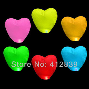 New 8pcs/lot Mixed Color Chinese Fire Lantern Heart Shape Sky Balloon Fire Lamp for Wedding Party