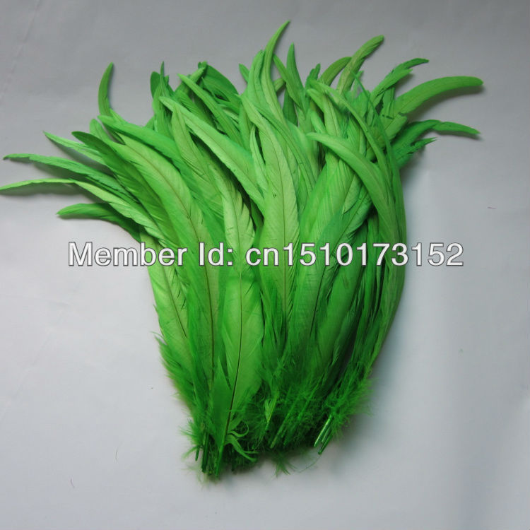 10lot 14-16''/35-40cm Apple Green Dyeing Loose Rooster Tail Feathers Trims Dress/Masks GJ2-7 - TiTi Feather Market store