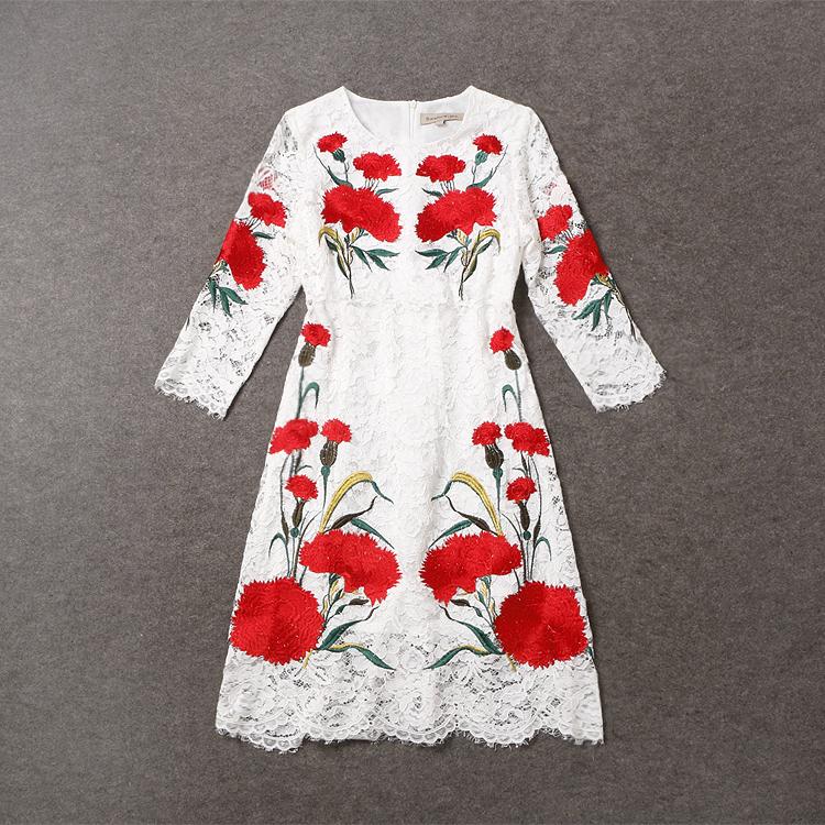 Red Sleeve Black Lace Dress Designer
