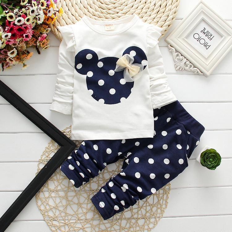 new fashion girls clothing sets minnie children clothes bow tops t shirt leggings pants baby kids suits 2 pcs suit retail(China (Mainland))