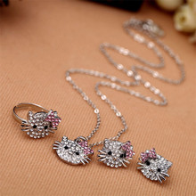 1set Hello kitty children crystal necklace ring earring sets children's favorite jewelry accessories gift set high quality