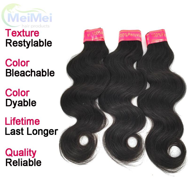 7A Peruvian Human Hair Weave Bundles with Closures 4 Pcs/lot Peruvian Body Wave Virgin Hair and 4*4 Lace Closure Bleached Knots