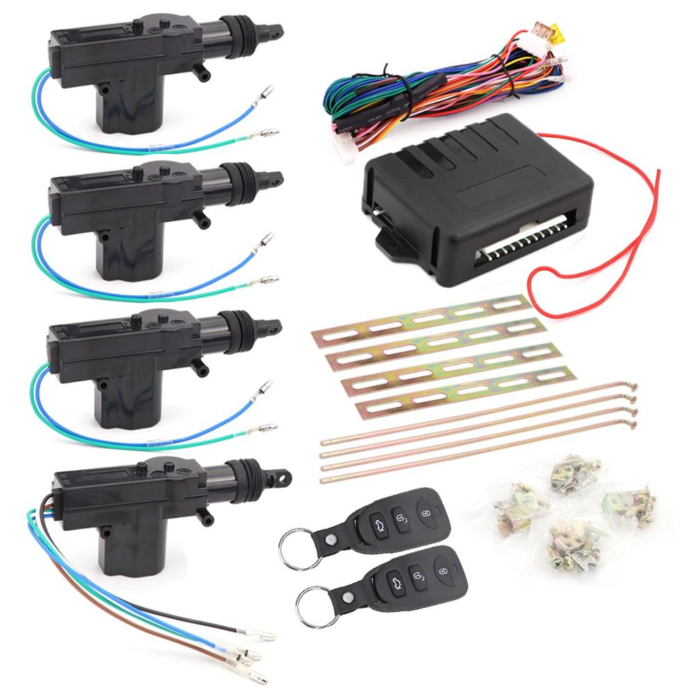 Universal Car Auto Remote Central Locking Alarm Security Kit 4 Door Bracket Keyless Entry System 360 Degree Rotation
