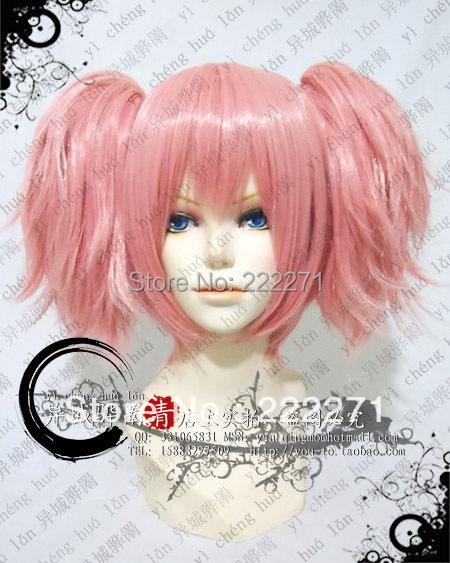 FREE SHIPPING Anime Puella Magi Madoka Magica Kaname Madoka Short Pink Cosplay Wig  Costume Heat Resistant + Cap