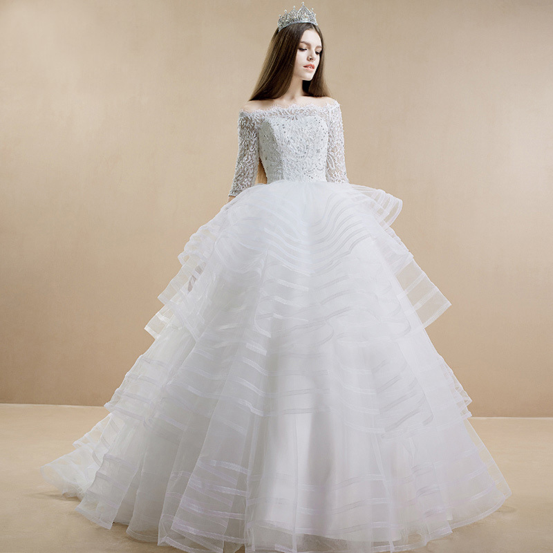 Luxury Wedding Dress With Chapel Train 2015 White Three Quarter ball gown With Appliques Beaded Chapel Train Organza Bridal Gown