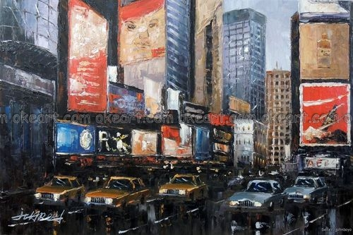 100% hand painted Times Square New York City Manhattan Cabs Taxis Shoppers Oil On Canvas Painting free shipping(China (Mainland))