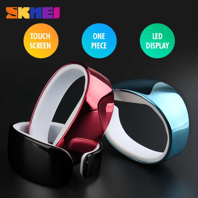 SKMEI Brand Fashion Casual Women Bracelet LED Watch Touch Screen Perfect Black LED Display Rectangle Silicone Men Wristwatches(China (Mainland))