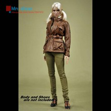 Free Shipping MC TOYS 1/6 MCF-015 Female Brown Leather Clothing Suit For 12″ Action Figure Accessories In-Stock