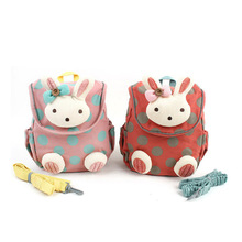 2015 NEW top quality anti-lost baby kids cute 3d rabbit dot backpack, girls child schoolbags kindergarten Toys bag snack pack(China (Mainland))