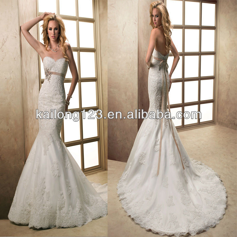 Dazzle sweetheart fit and flare lace applique through for All lace fit and flare wedding dress