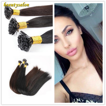 "Hot Selling! Prebonded Hair Extensions 1g/strand 100g/pc18""-28"" Human Indian Hair #1b Straight Flat Tip Hair Extensions"