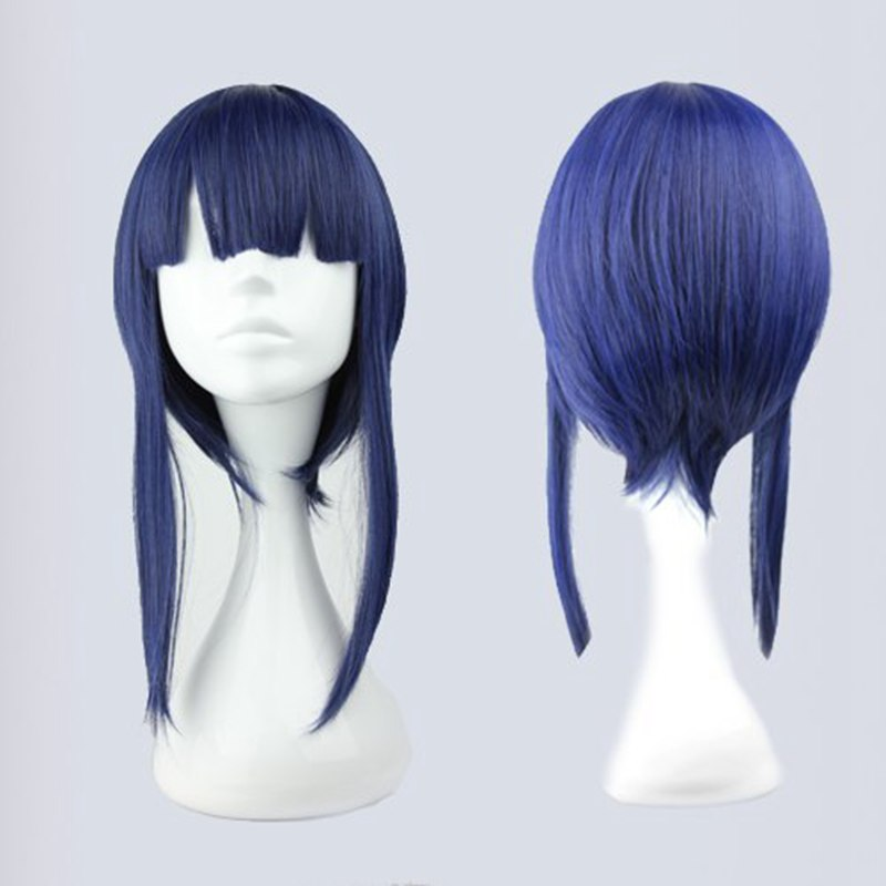 45cm Harajuku Anime Cosplay Wigs Young Long Straight Synthetic Full Hair  Wig  Blue Costume Party Wig Funny   Perruque Peruca