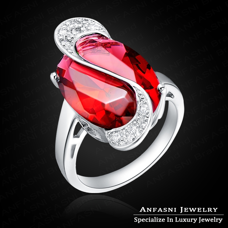 Elegant High Imitative Ruby Diamond Party Ring Gorgeous Platinum Plated Oval Shape Zircon Ring With Austrian