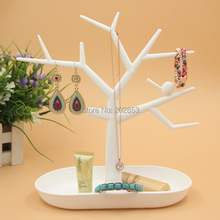 1pc/lot Hot selling plastic tree branch shape jewelry display earring bracelet necklace organizer sundries storage white color