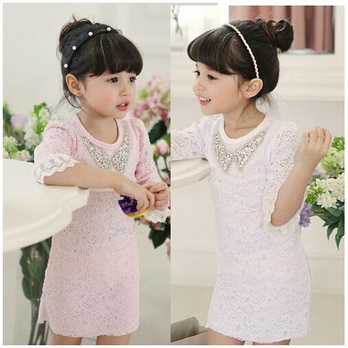 2014 NEW Style dress Girl's fashion mini dress children dresses girl soild straight dresses 2colors about 3-7years child(China (Mainland))