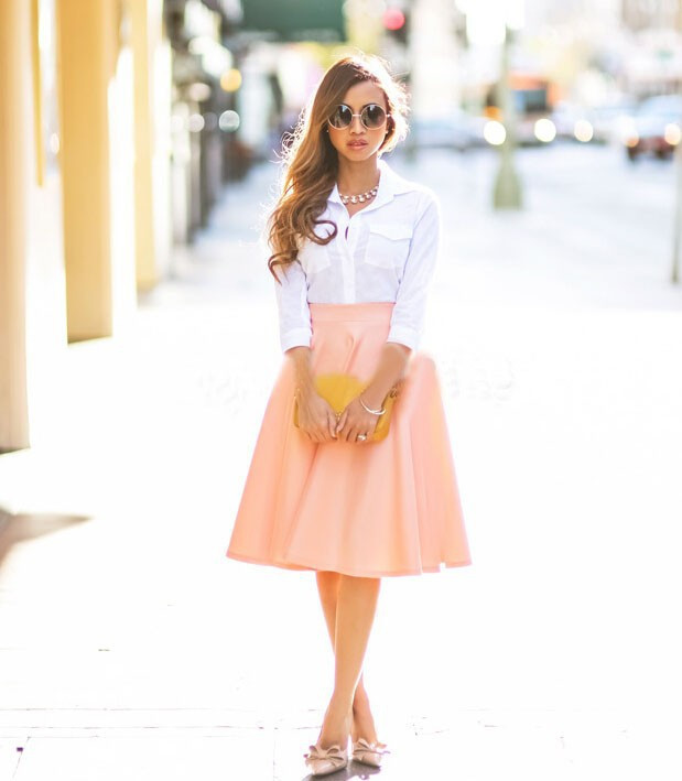 Peach Midi Skirt - Dress Ala