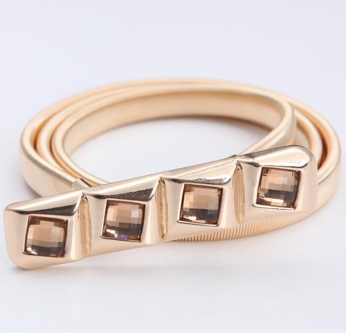 Free shipping 2015 new fashion square crystal gold silver belt belly chain  jewelry Infinity  gift for women girl wholesale(China (Mainland))