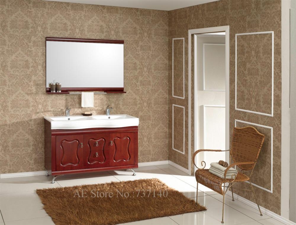 Compra doble lavabo mueble de ba o online al por mayor de for Mueble de bano doble lavabo de madera