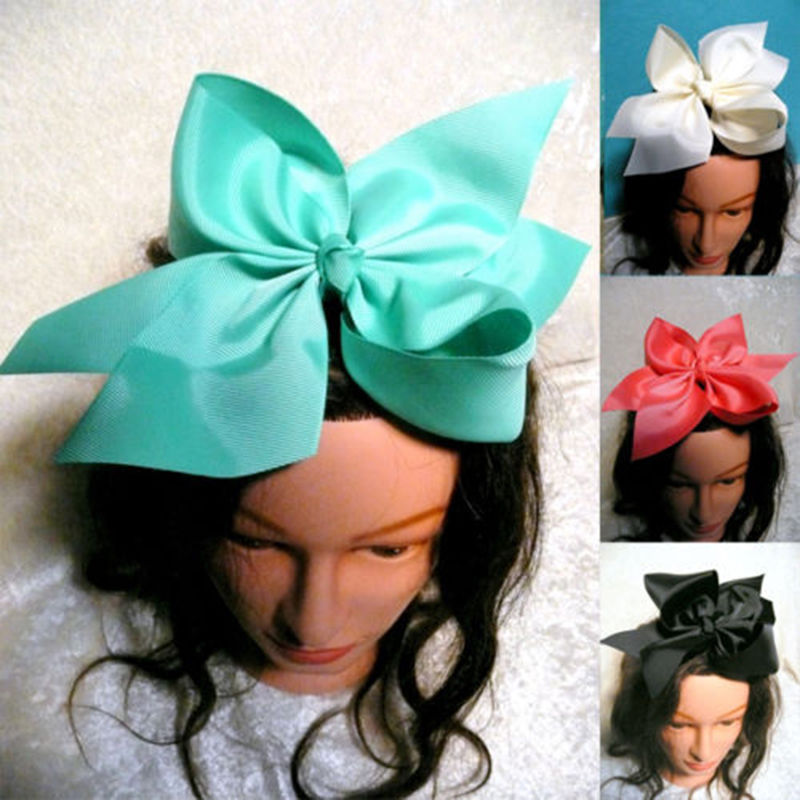 1PC 10 Inch Boutique Grosgrain Ribbon Bow Girls' Hairpins With Clip Big Bowknot Hair Clips Children Headwear Fast Free Shipping(China (Mainland))