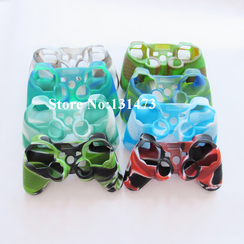 10pcs/lot Camouflage Silicone Soft Protective Shell Case Skin For Sony Playstation 3 PS3 Controller Accessory(China (Mainland))