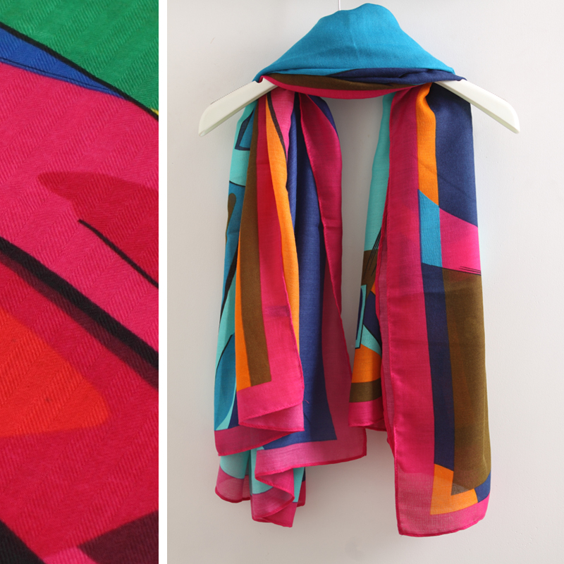 High quality excellent 2 cartoon abstract color block wool scarf silk scarf cape large facecloth(China (Mainland))