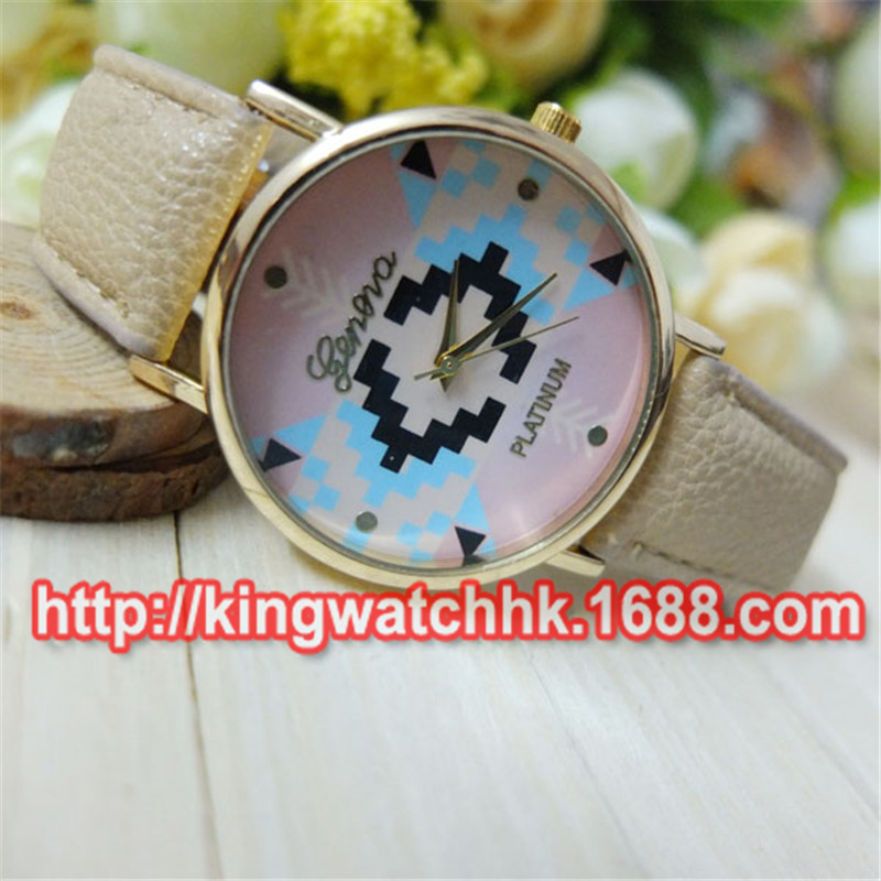 DHL free 100pcs/lot, stylish optimum Clock Brand Geneva Watch Women Popular Quartz Watch Wheat jigsaw Dress Watch