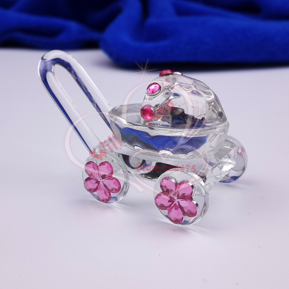 30PCS/LOT Mini Crystal Baby Carriage Baby Shower Favors Party Souvenirs(China (Mainland))