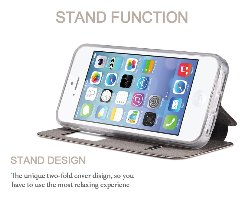 Luxury Front View Window Leather Case For iPhone SE Phone Accessories Fundas Capa For Apple iPhone 5s Flip Stand TPU Cover Coque