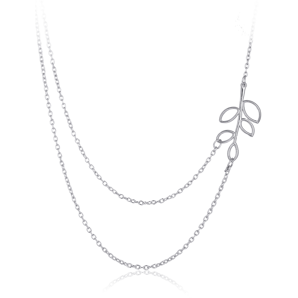 Alloy Leaves Double Chain Necklace Short Paragraph Clavicle Necklace Hot New Fashion Women's Jewelry Wholesel N147(China (Mainland))