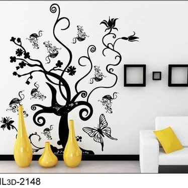 Free Shipping:1 Set=5.01 Butterfly Love Flower Black Tree DIY Wall Art Home Decoration Fashion 3D Wall Sticker