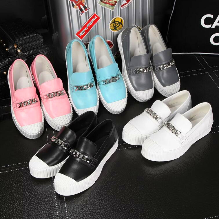 Factory 2016 New Soft Loafers With Fashion Chains Upper Brand Designer 5color Casual Driving Pregnant Woman Slip On Flats Shoes