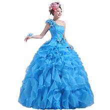 Buy Suosikki Romantic 2016 Colorful Organza line Beading Ruched One Shoulder Wedding Dress Bride Beautiful Party Vestidos De Novia for $45.00 in AliExpress store