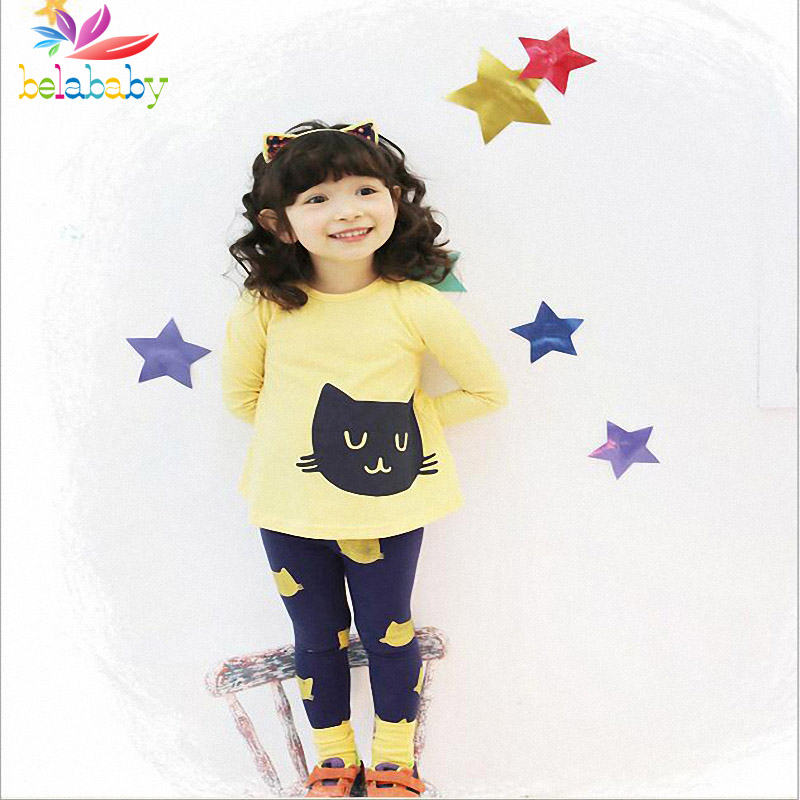 Belababy Spring Baby Girl Cartoon Cat Clothing Set 2016 Children Long Sleeve T-shirt + Cotton Pant 2PCS Kids Clothes Suit(China (Mainland))